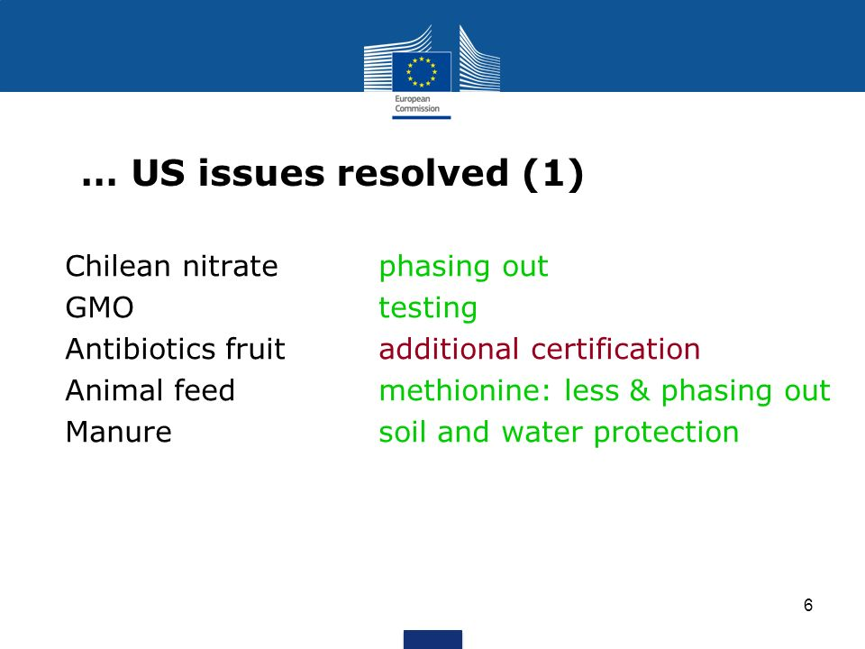 … US issues resolved (1) Chilean nitrate phasing out GMO testing