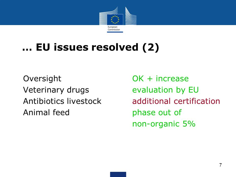 … EU issues resolved (2) Oversight OK + increase