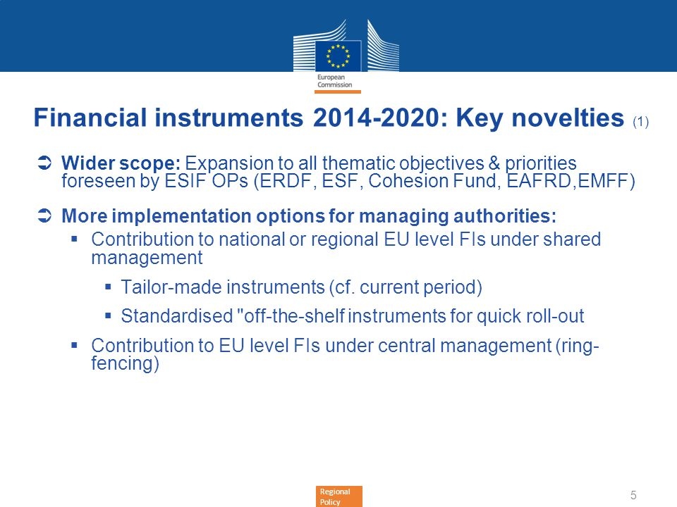 Financial instruments 2014-2020: Key novelties (1)