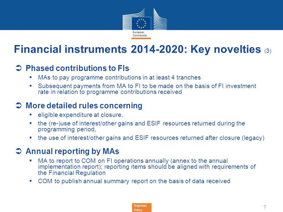 Financial instruments 2014-2020: Key novelties (3)