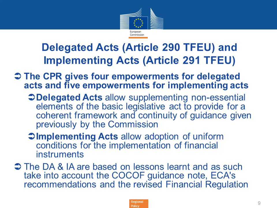 Delegated Acts (Article 290 TFEU) and Implementing Acts (Article 291 TFEU)