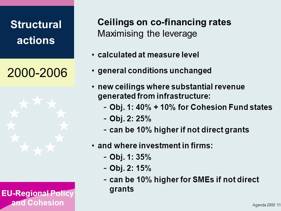 Ceilings on co-financing rates Maximising the leverage