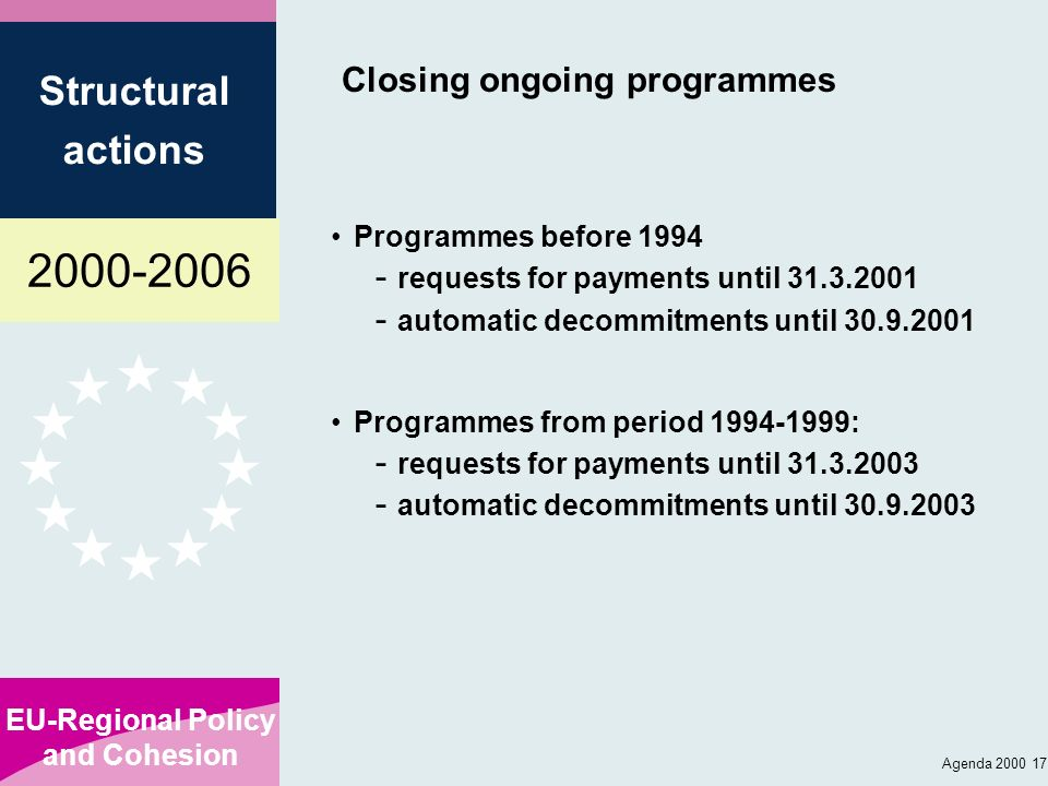 Closing ongoing programmes