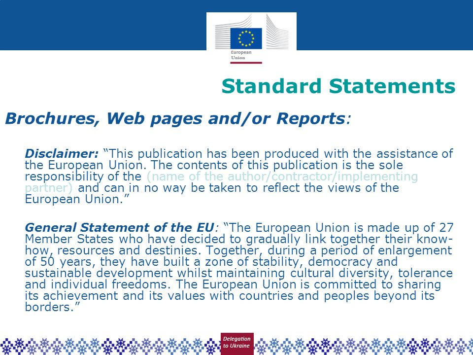 Standard Statements Brochures, Web pages and/or Reports: