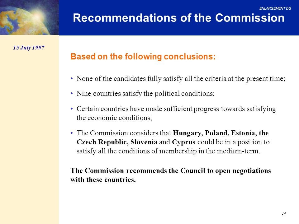 Recommendations of the Commission