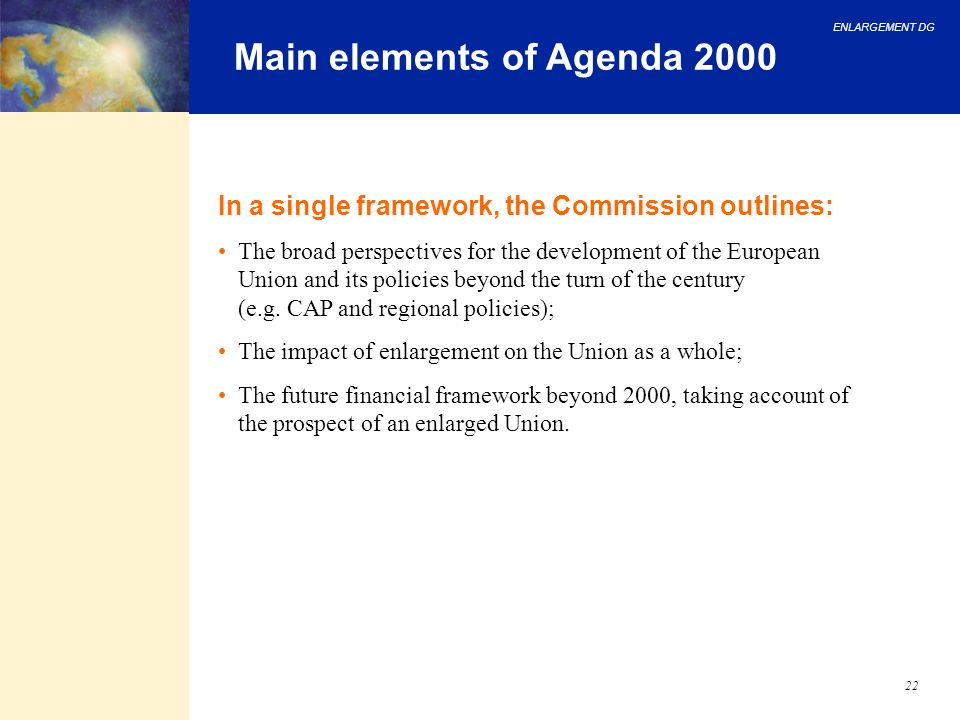Main elements of Agenda 2000