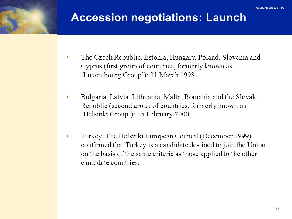 Accession negotiations: Launch