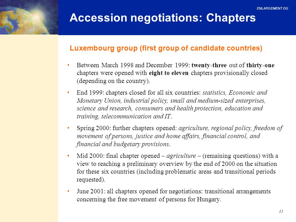 Accession negotiations: Chapters