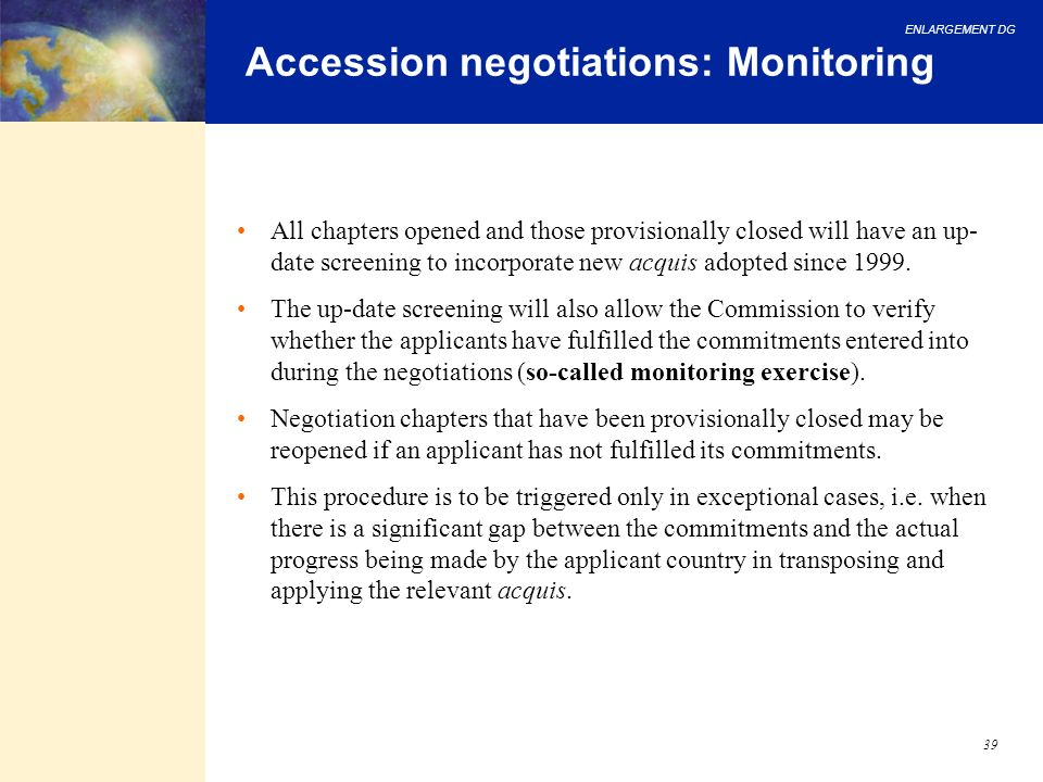 Accession negotiations: Monitoring