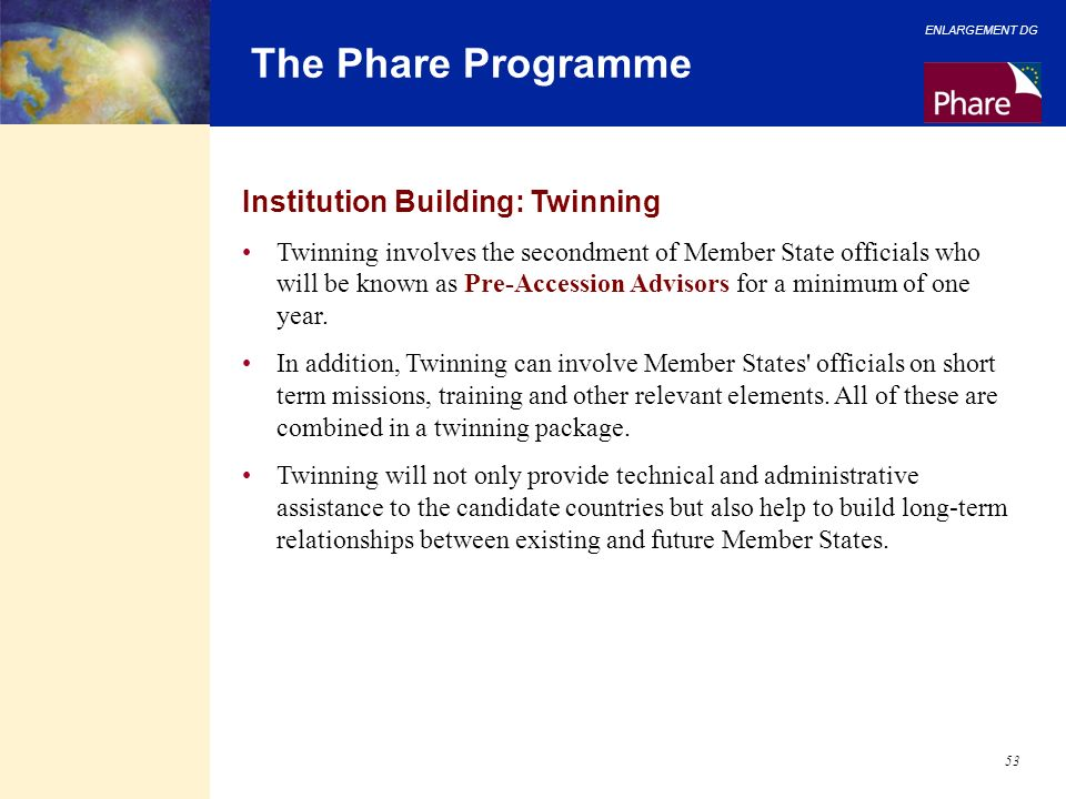 The Phare Programme Institution Building: Twinning