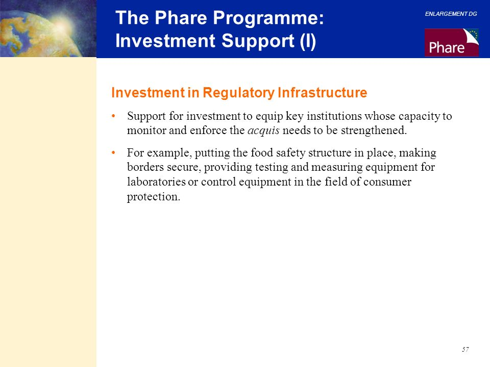The Phare Programme: Investment Support (I)