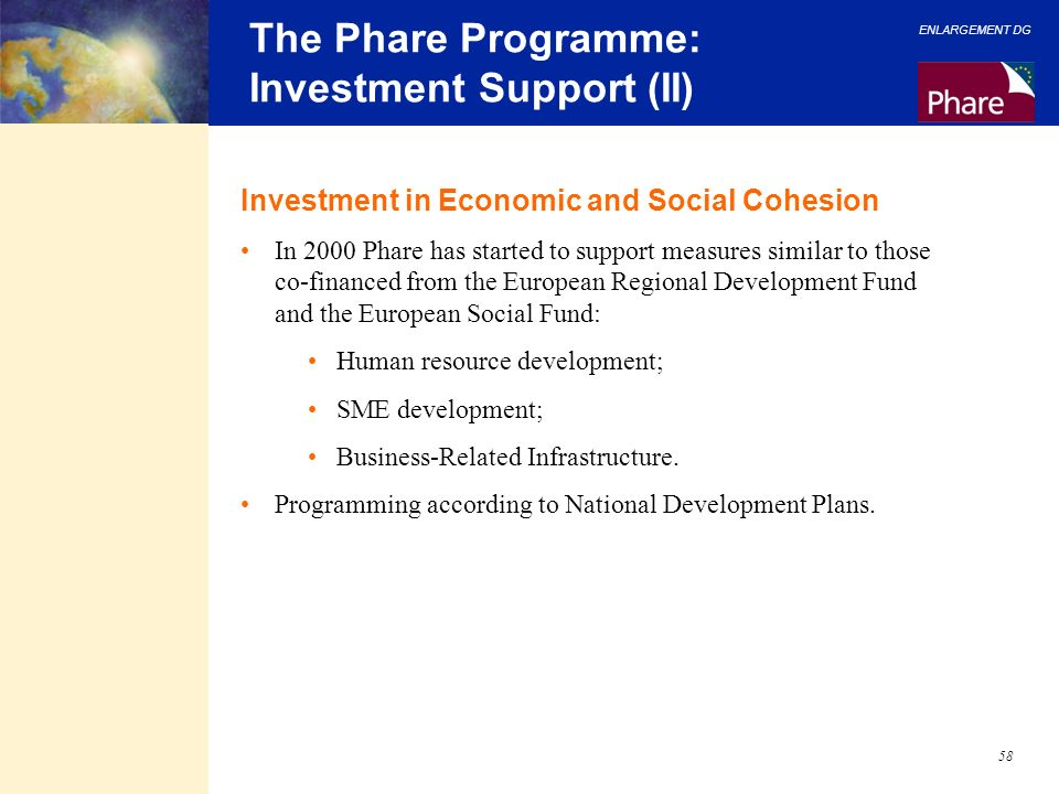 The Phare Programme: Investment Support (II)