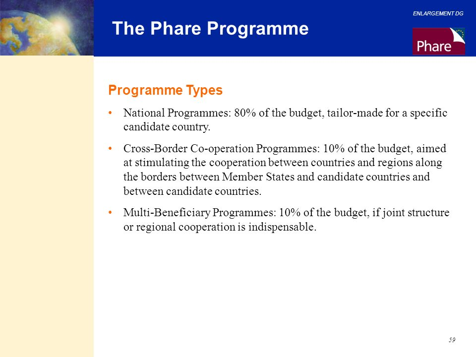 The Phare Programme Programme Types