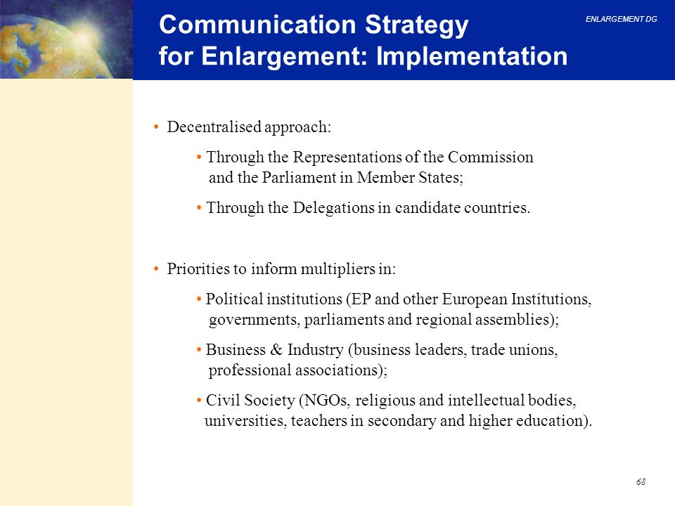 Communication Strategy for Enlargement: Implementation