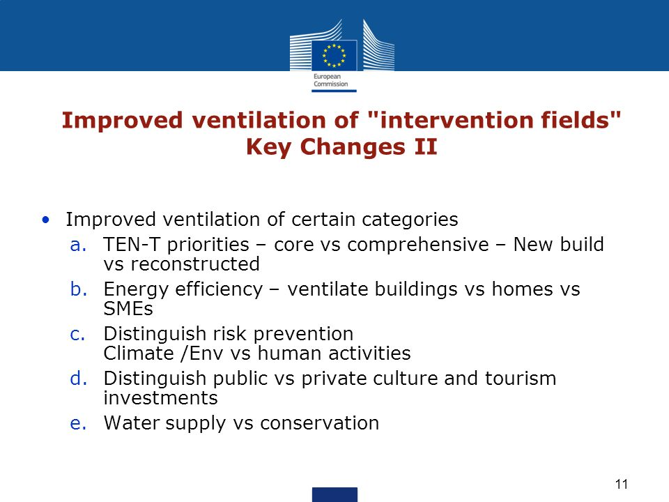 Improved ventilation of intervention fields Key Changes II