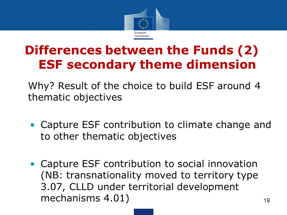 Differences between the Funds (2) ESF secondary theme dimension