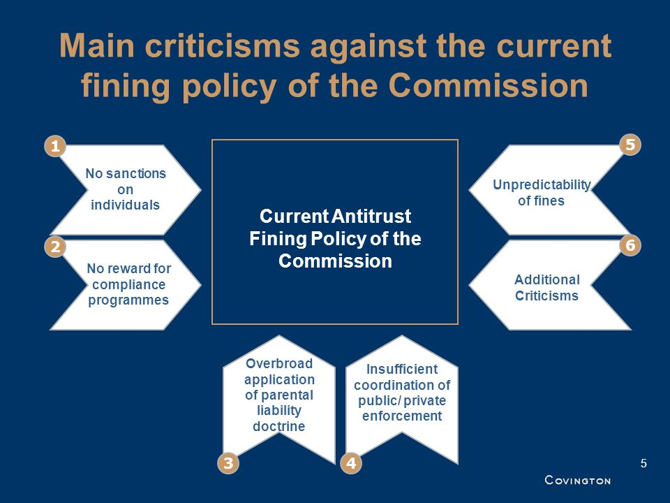 Main criticisms against the current fining policy of the Commission