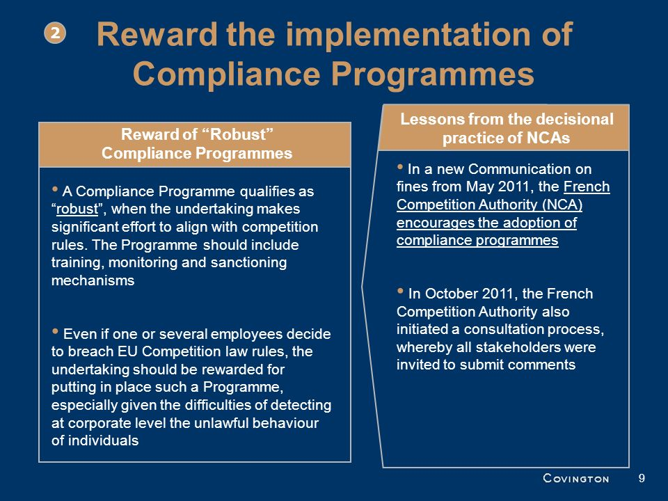 Reward the implementation of Compliance Programmes