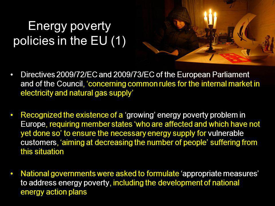 Energy poverty policies in the EU (1)