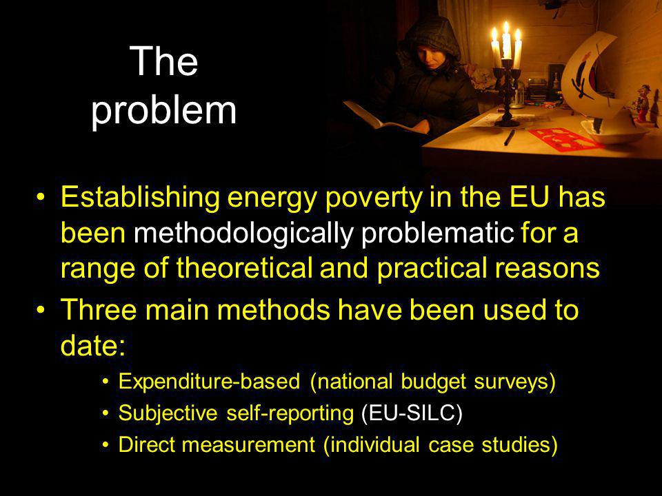 The problem Establishing energy poverty in the EU has been methodologically problematic for a range of theoretical and practical reasons.