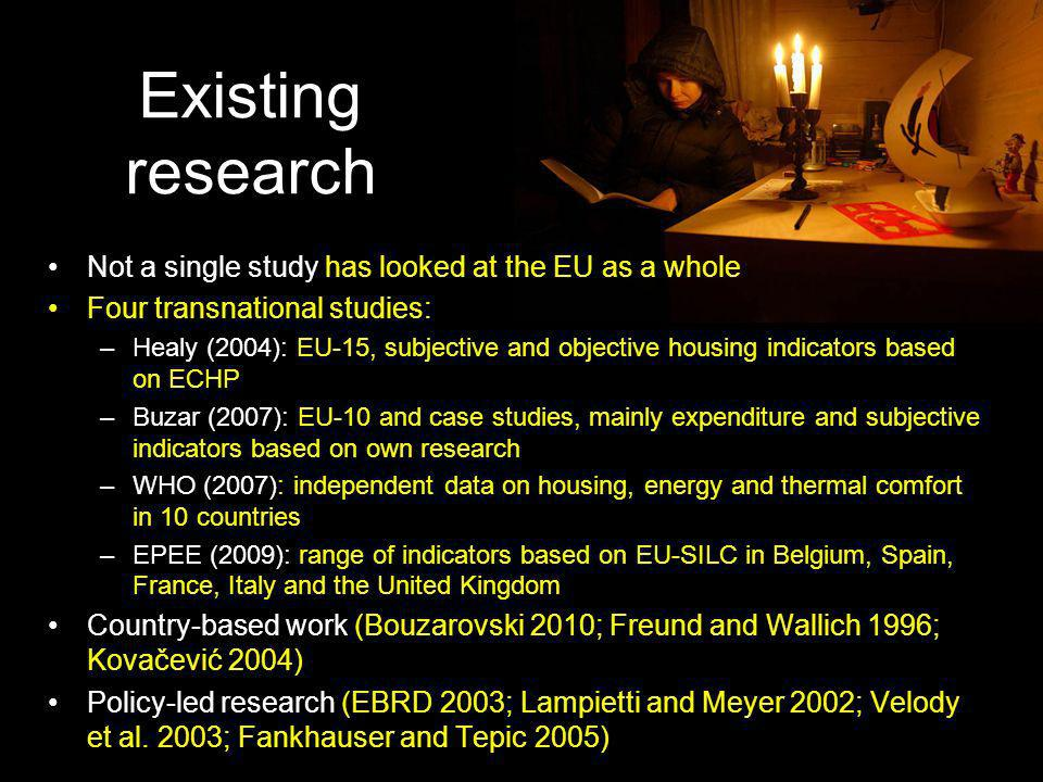 Existing research Not a single study has looked at the EU as a whole