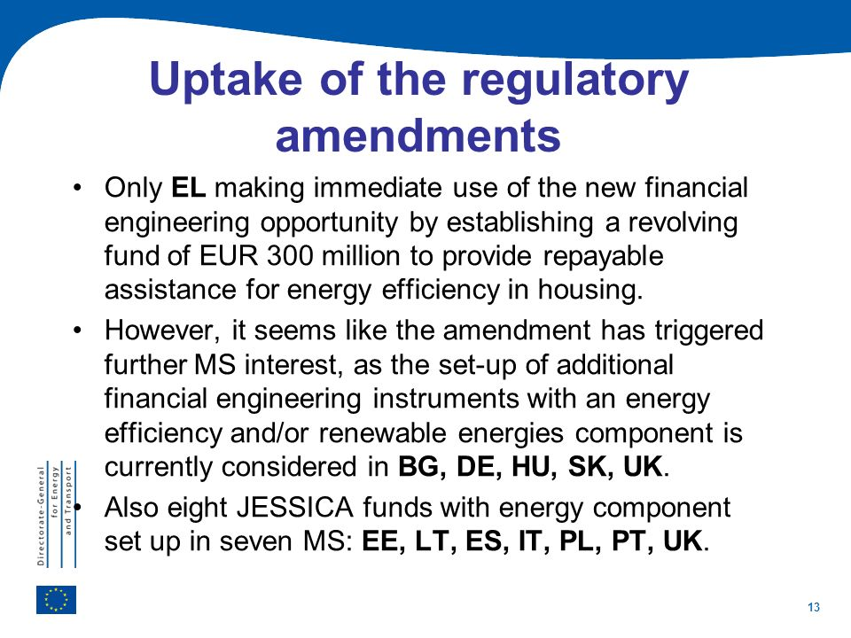 Uptake of the regulatory amendments