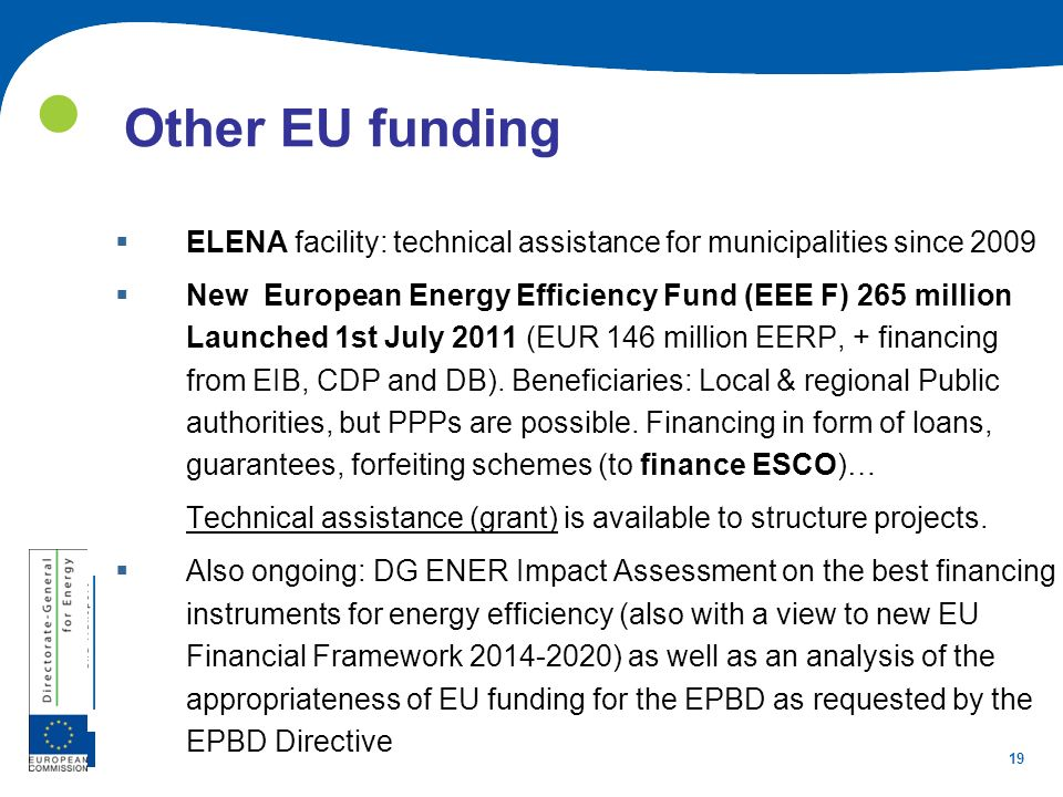  Other EU funding. ELENA facility: technical assistance for municipalities since 2009.