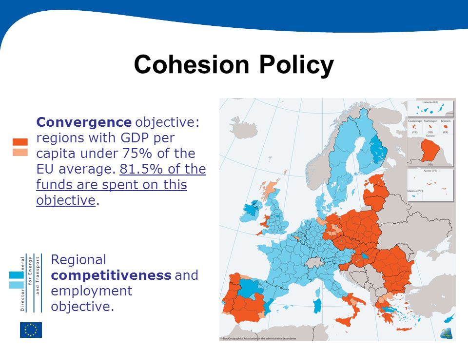 Cohesion PolicyConvergence objective: regions with GDP per capita under 75% of the EU average. 81.5% of the funds are spent on this objective.