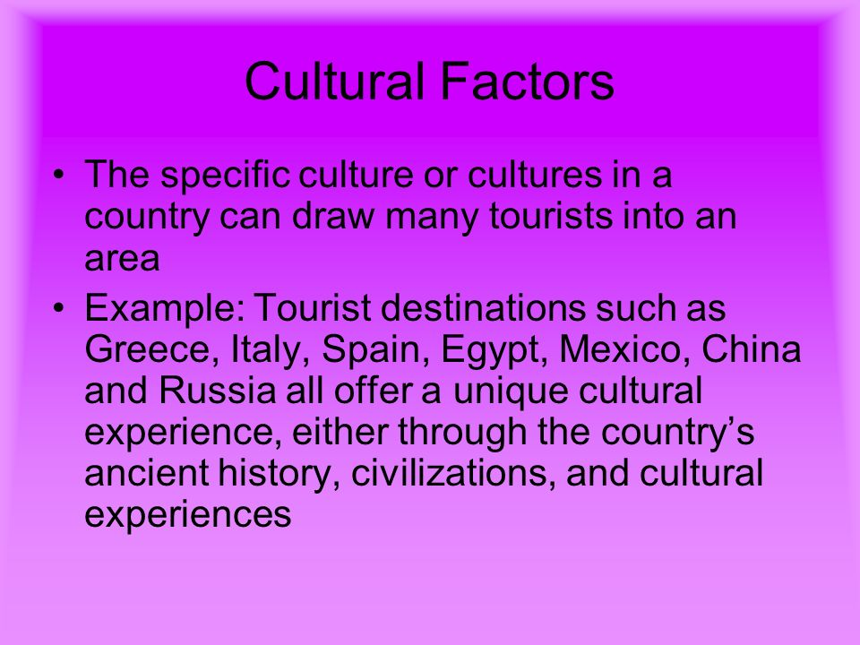 motivators in tourism Understanding the behaviour of cultural tourists potential significance of cultural tourism in the 5 'understanding the behaviour of cultural tourists.