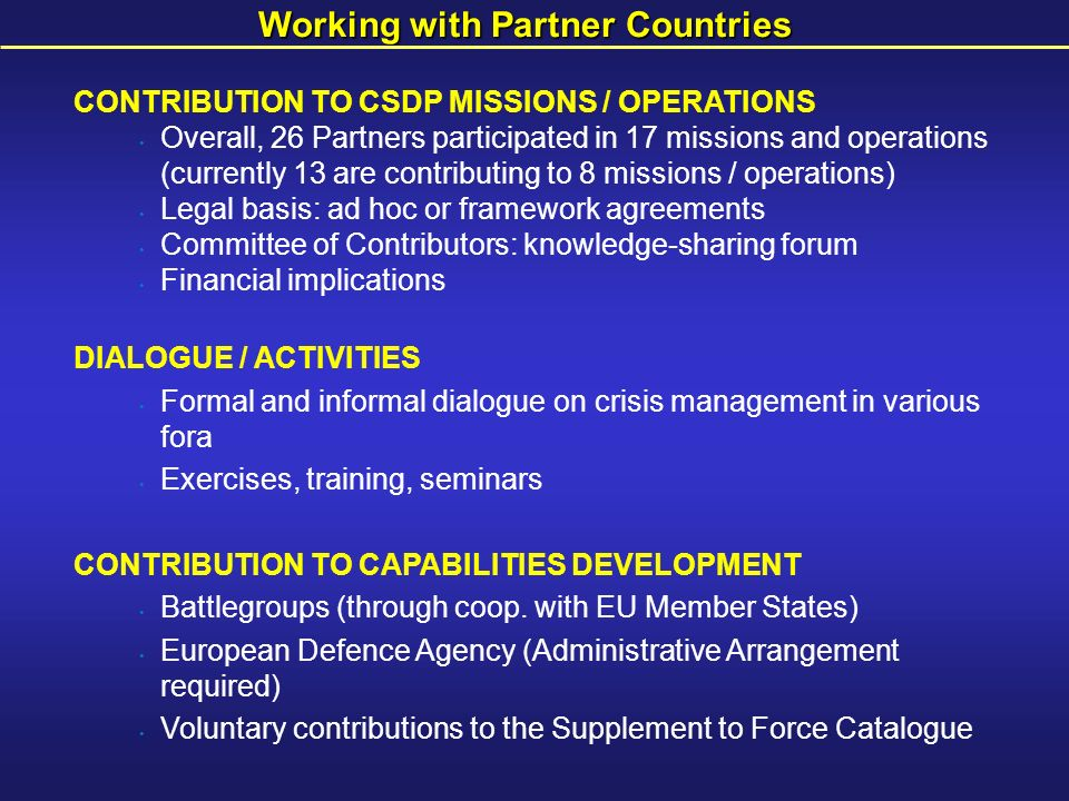 Working with Partner Countries