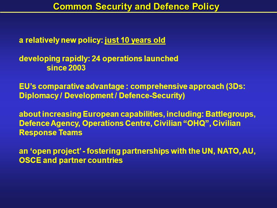 Common Security and Defence Policy