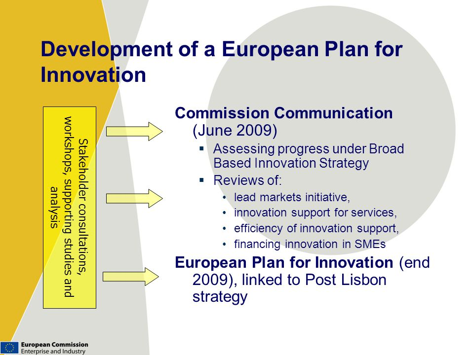Development of a European Plan for Innovation