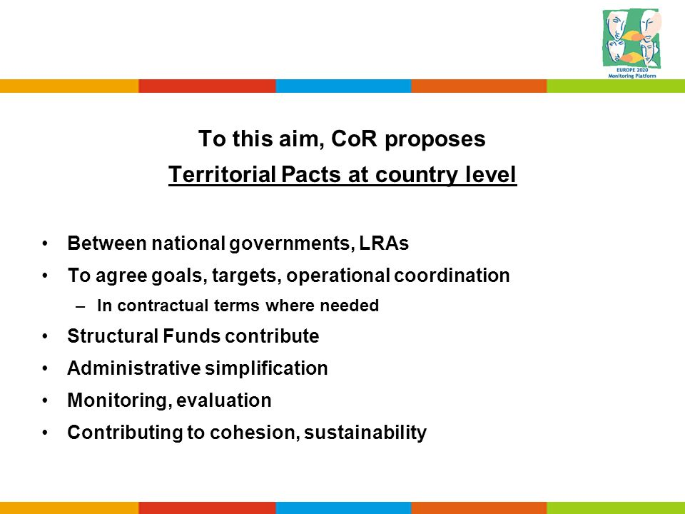 To this aim, CoR proposes Territorial Pacts at country level