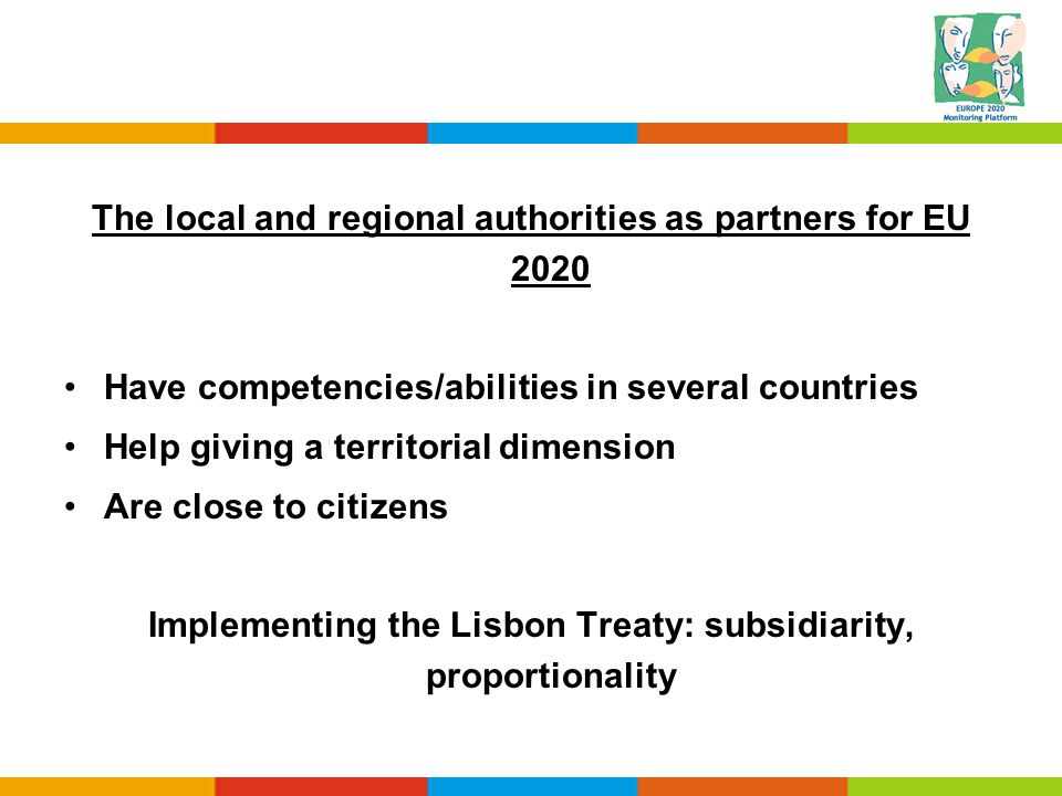 The local and regional authorities as partners for EU 2020