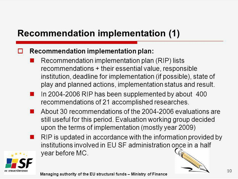 Recommendation implementation (1)