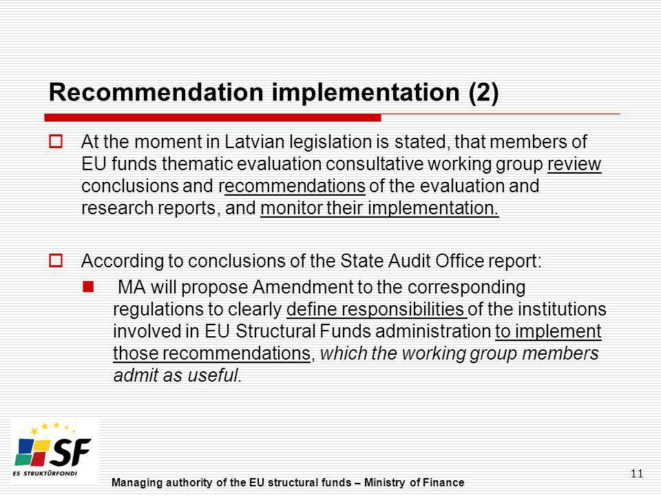 Recommendation implementation (2)