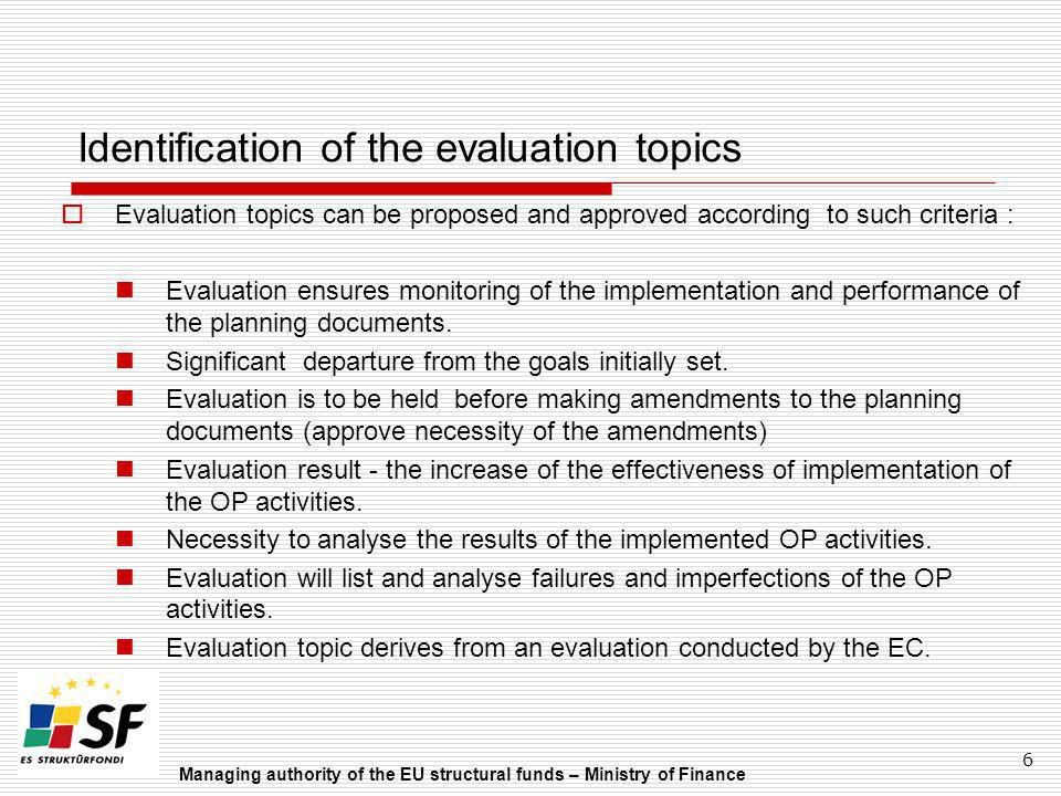 Identification of the evaluation topics