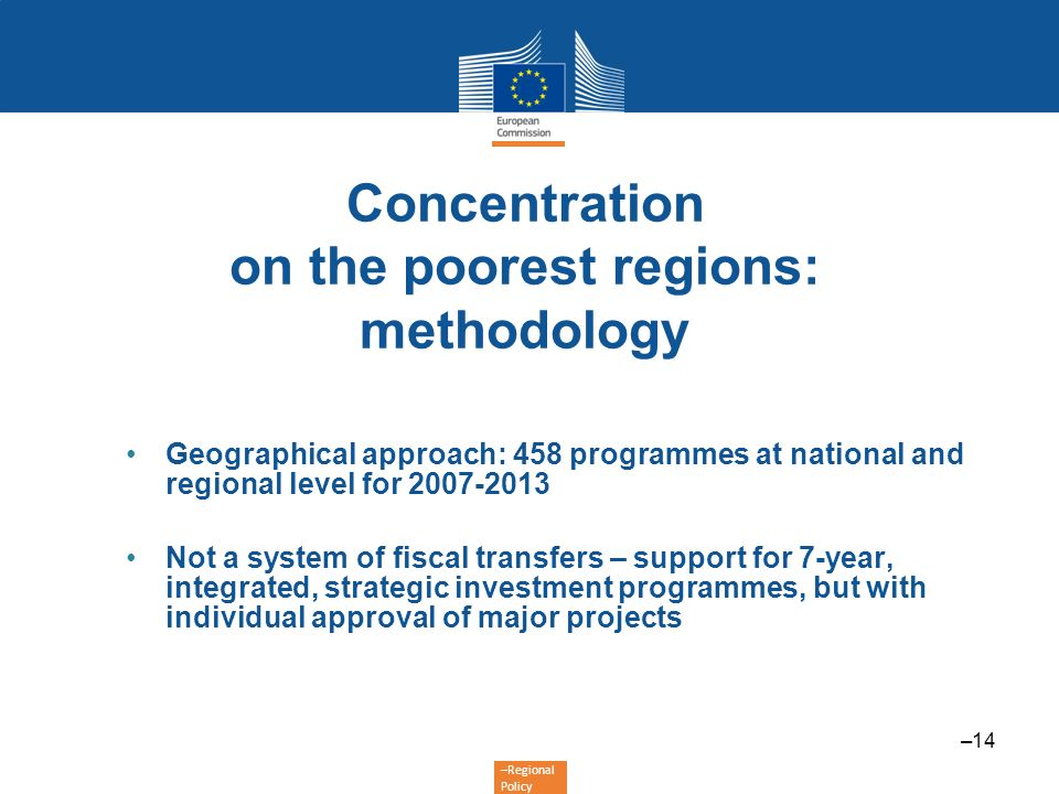 Concentration on the poorest regions: methodology