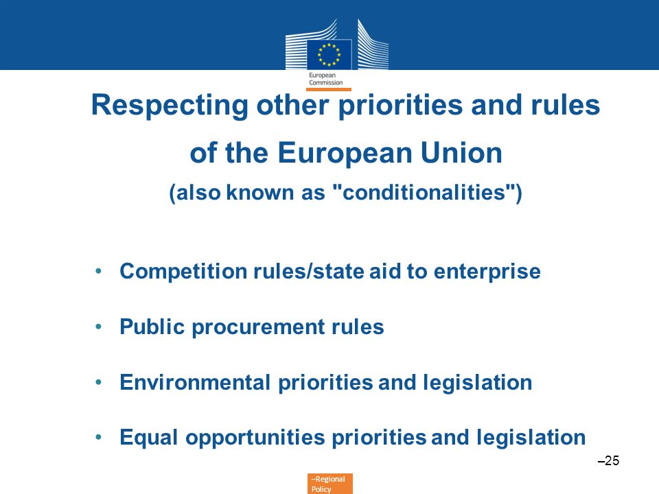 Respecting other priorities and rules of the European Union