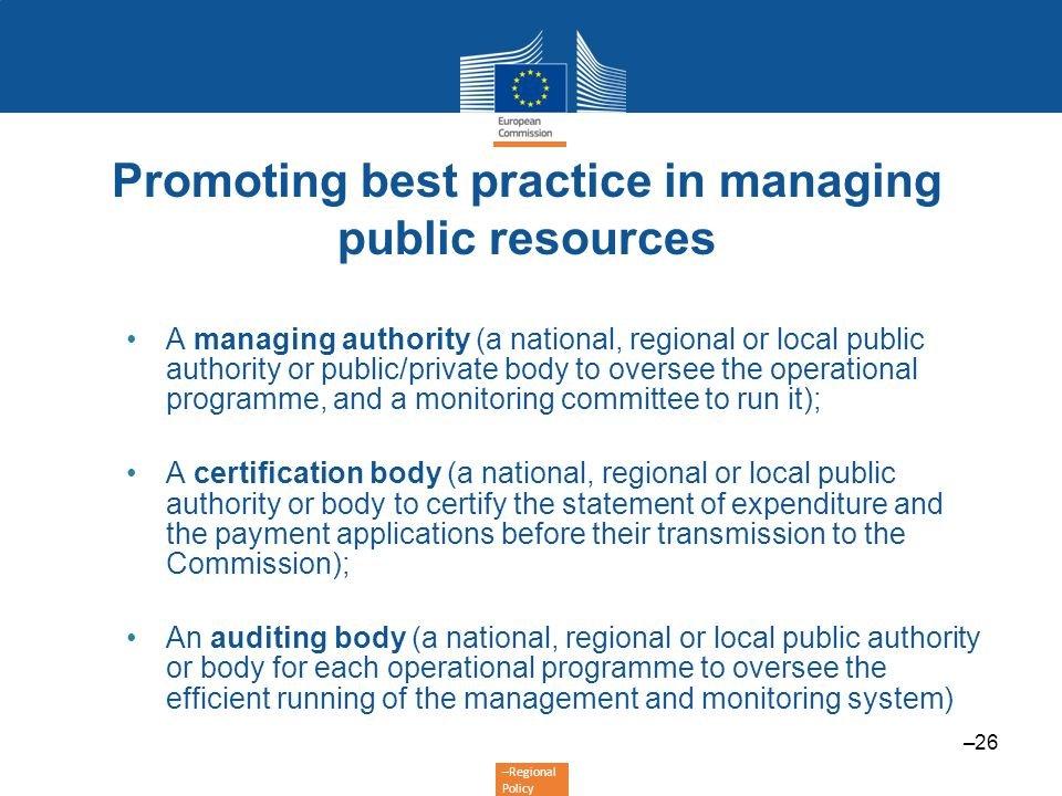 Promoting best practice in managing public resources