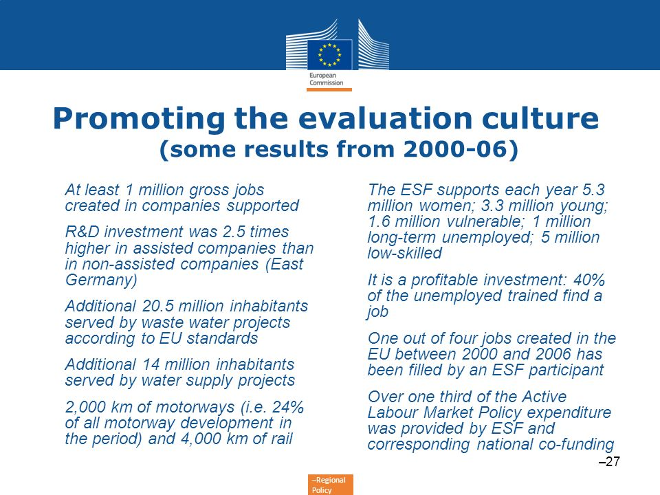 Promoting the evaluation culture (some results from 2000-06)