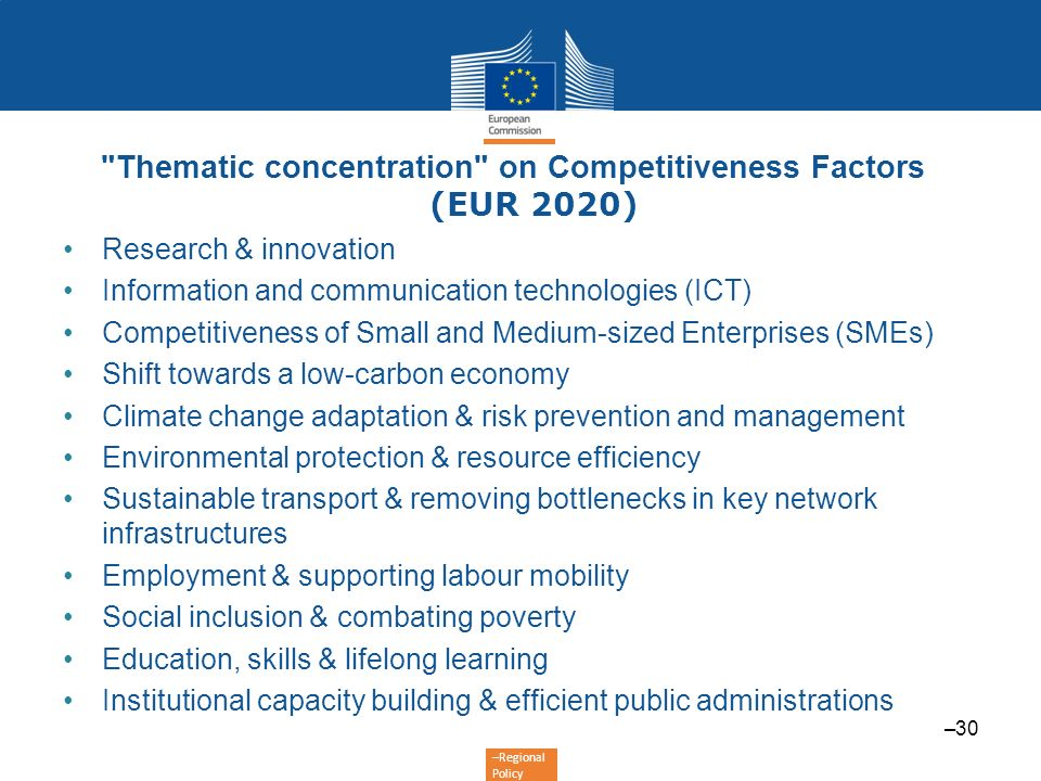 Thematic concentration on Competitiveness Factors (EUR 2020)