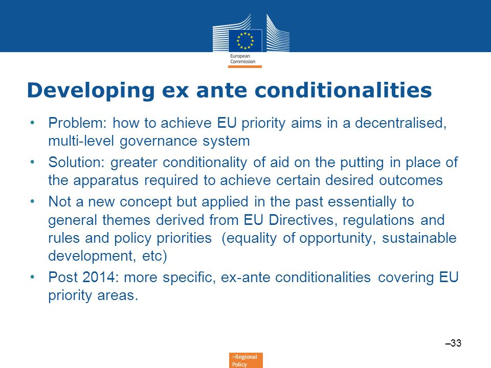 Developing ex ante conditionalities
