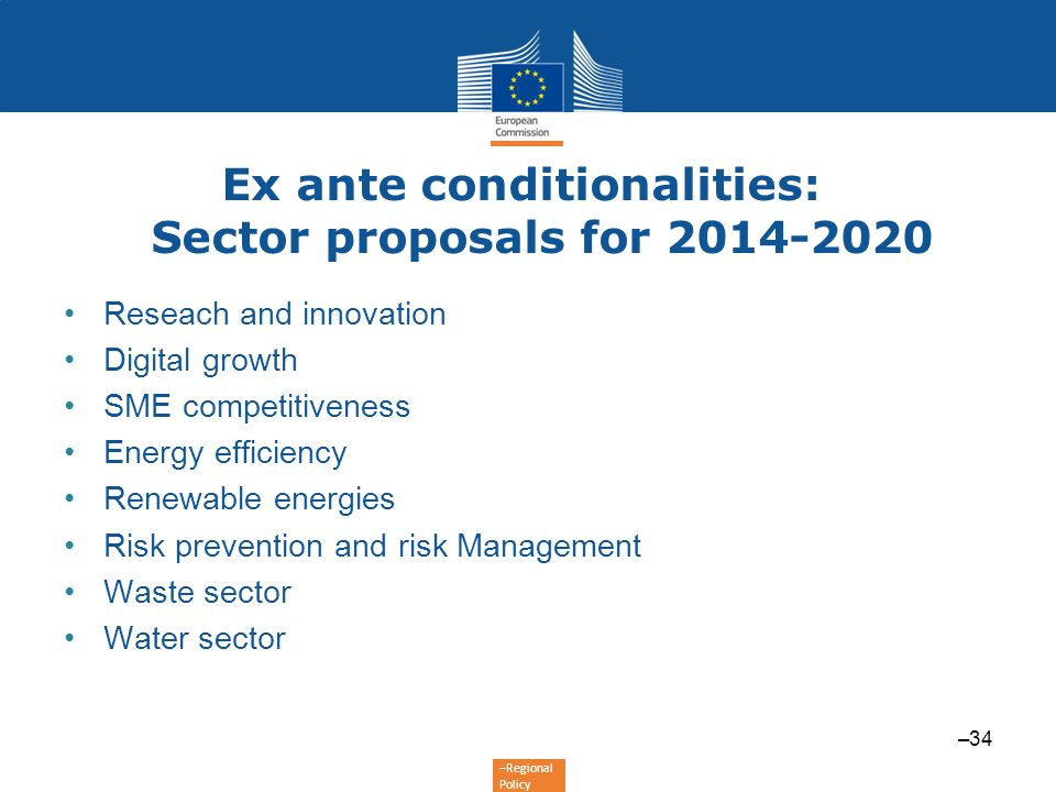 Ex ante conditionalities: Sector proposals for 2014-2020