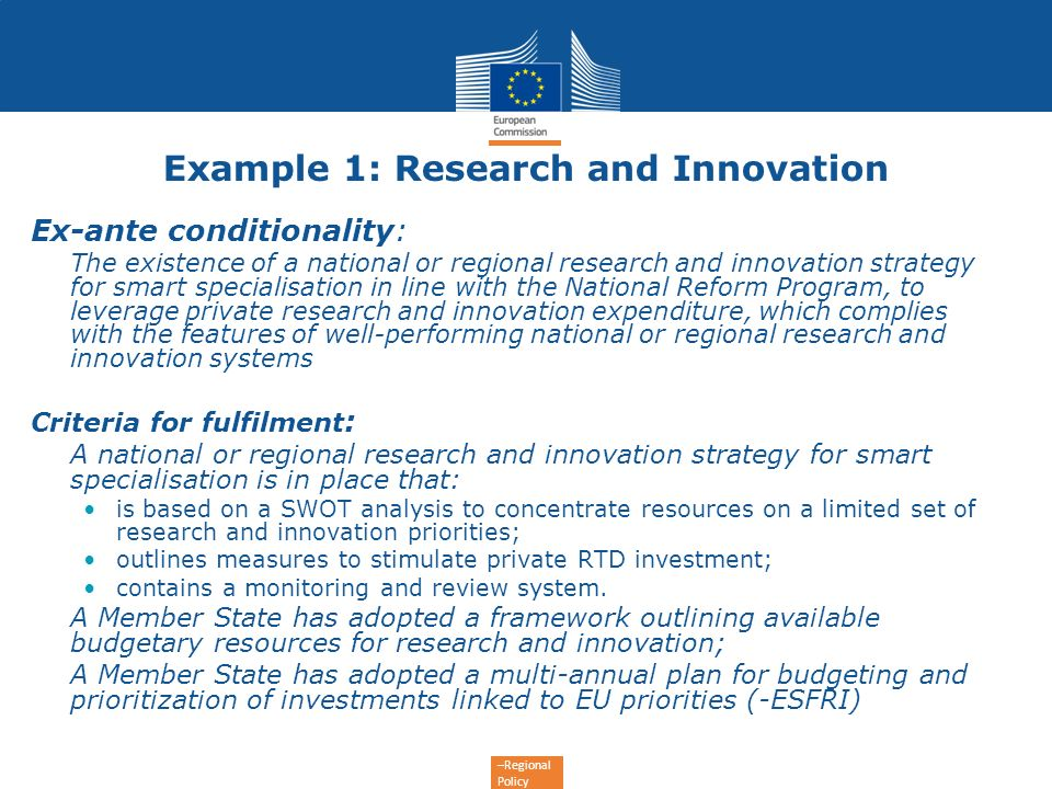 Example 1: Research and Innovation