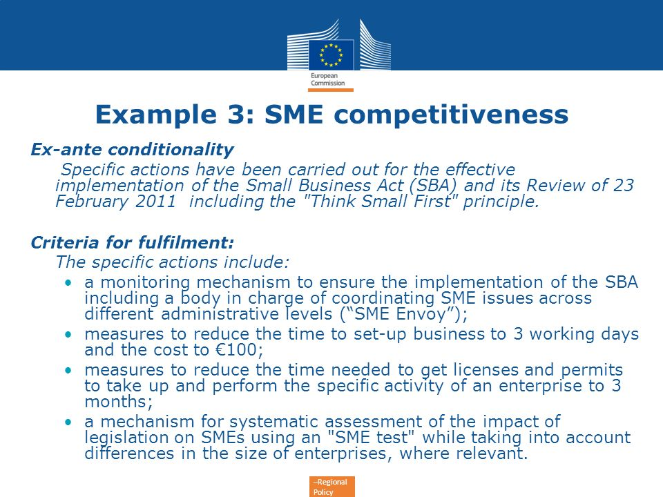 Example 3: SME competitiveness