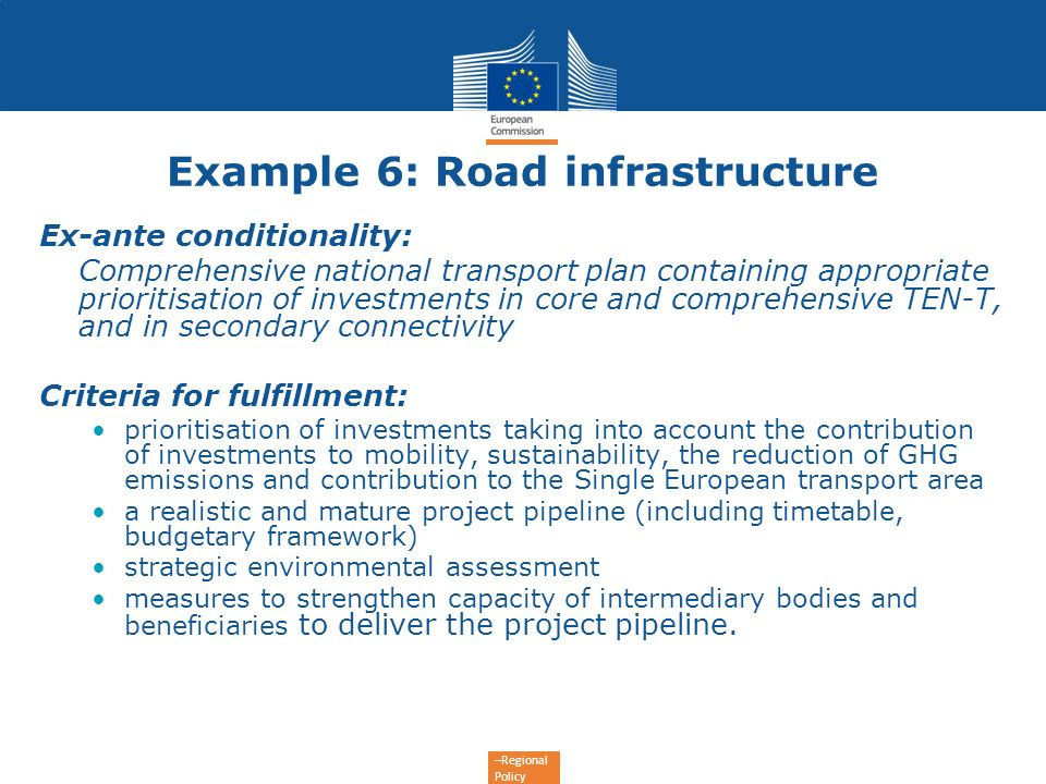Example 6: Road infrastructure