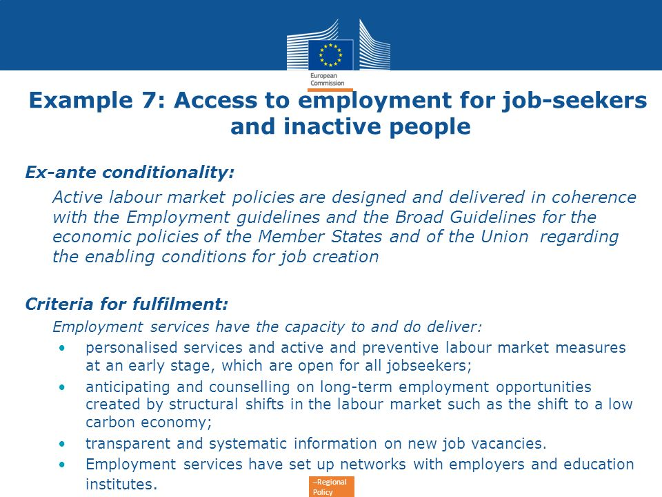 Example 7: Access to employment for job-seekers and inactive people