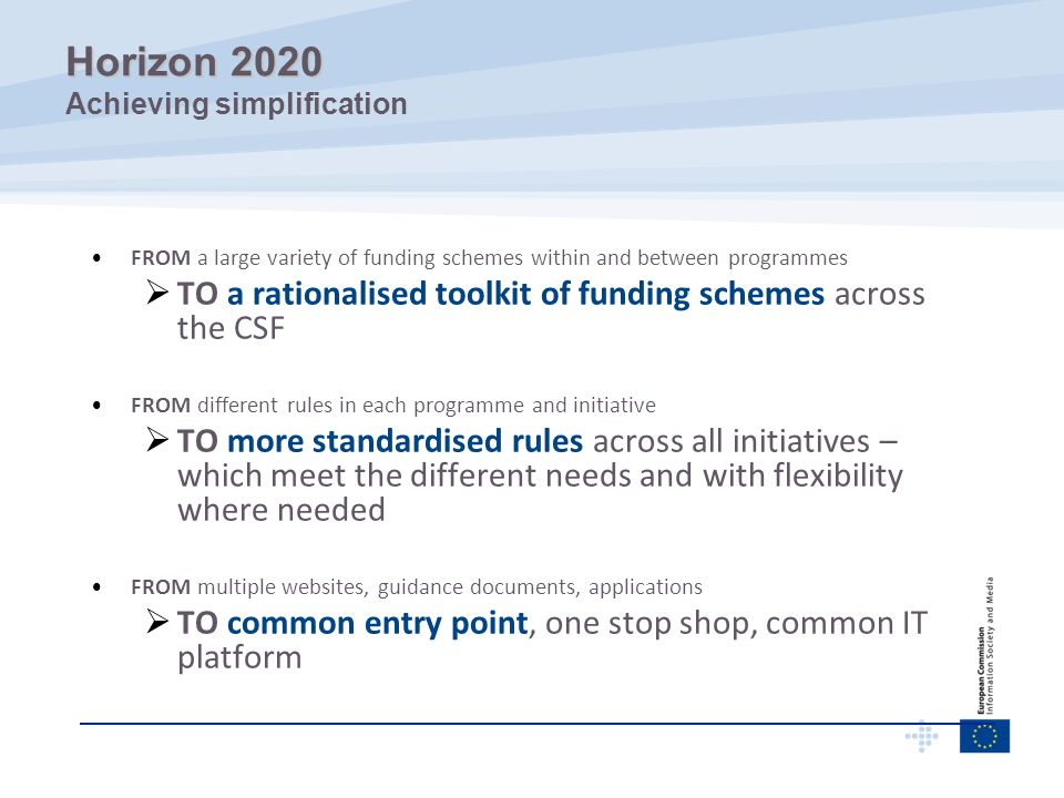 Horizon 2020 Achieving simplification