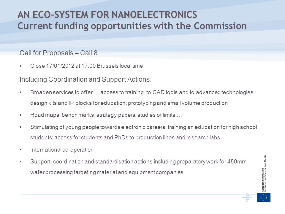 AN ECO-SYSTEM FOR NANOELECTRONICS Current funding opportunities with the Commission